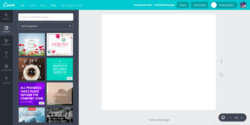 Canva main window