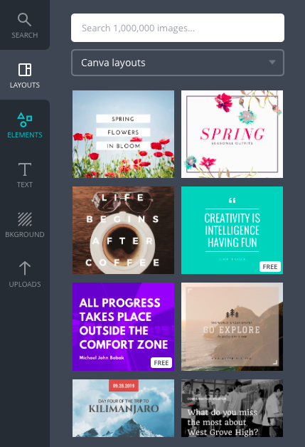 Canva Facebook layouts