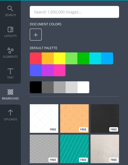 Canva background color panel