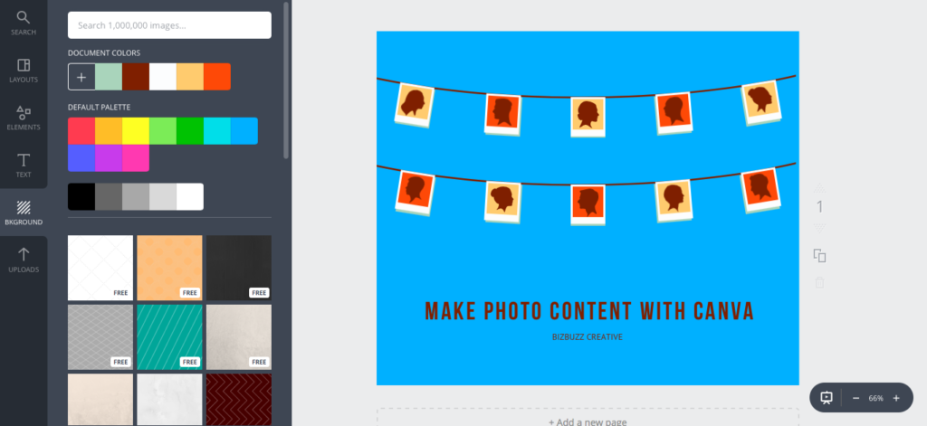 Canva image with new background color