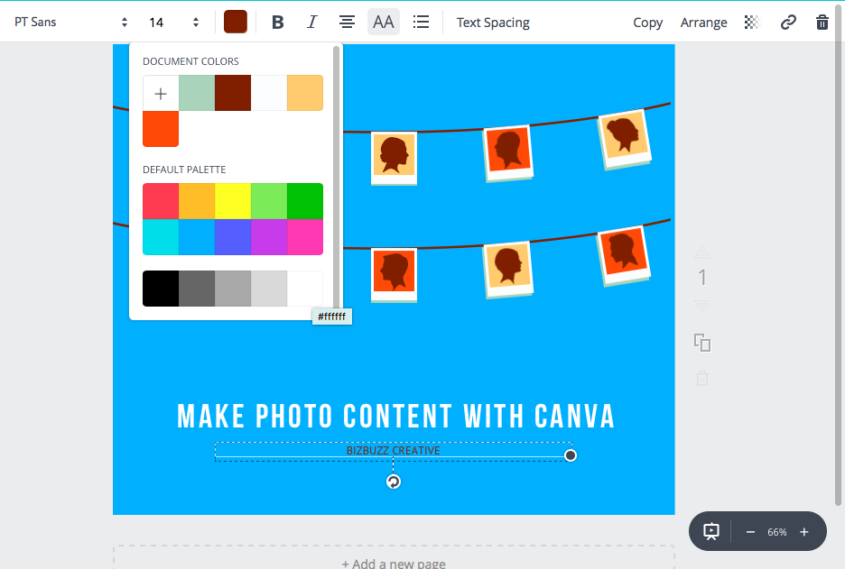 Canva image with new text color