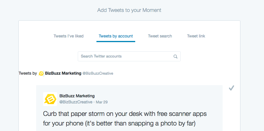Twitter Moments categories
